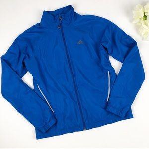 Adidas Blue Nylon Zip Up Windbreaker Jacket Small
